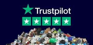 Logo de trustpilot encima de un montón de basura