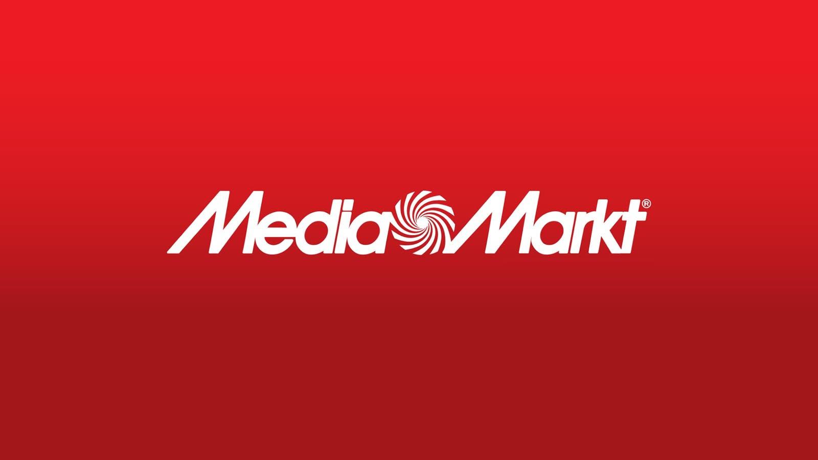 Logo de MediaMarkt en blanco sobre fondo degradado rojo